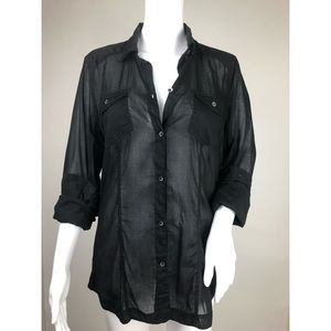American Eagle Outfitters Black Button Down